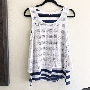 Anthropologie / White & Blue Lace Striped Top